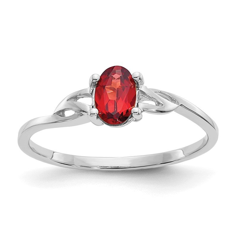 Quality Gold 10k White Gold Polished Geniune Garnet Birthstone Ring