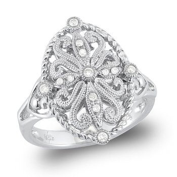 14K Gold filigree Diamond Ring
