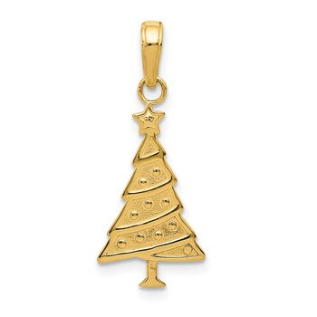 14k Polished Christmas Tree Pendant