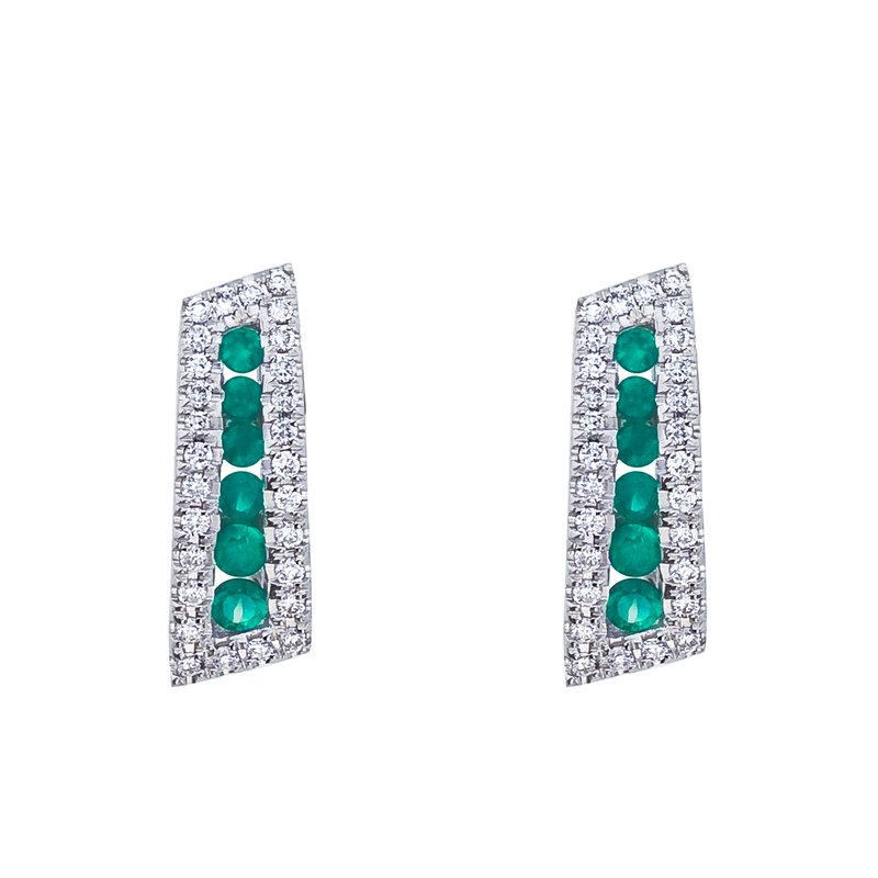 14k White Gold Emerald and Diamond Euro Back Earring