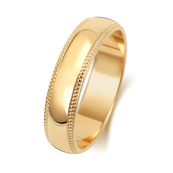18Ct Yellow Gold 5mm D Shape Millgrain Wedding Ring