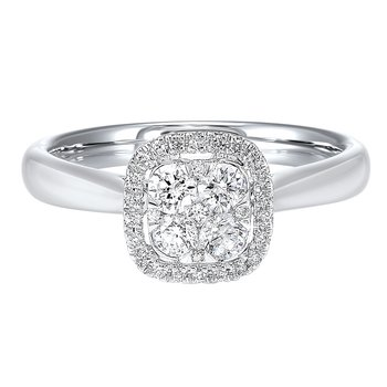 Diamond Halo Cluster Cushion Ring in 14k White Gold (¼ ctw)