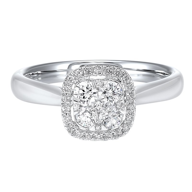 Gems One Diamond Halo Cluster Cushion Ring in 14k White Gold (¼ ctw)