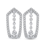 Essentials 10K White Gold Round 1/2 ct Diamond Fashion J-Hoop Earrings