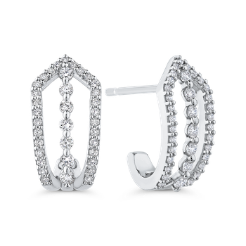 10K White Gold Round 1/2 ct Diamond Fashion J-Hoop Earrings