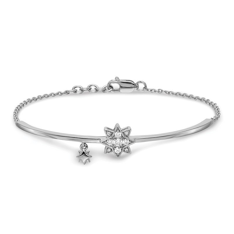 Quality Gold 14k White Gold w/Star Dangle Diamond Bangle w/.5in EXT Bracelet
