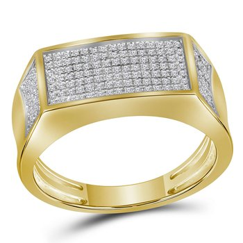 10kt Yellow Gold Mens Round Diamond Rectangle Cluster Band Ring 1/3 Cttw