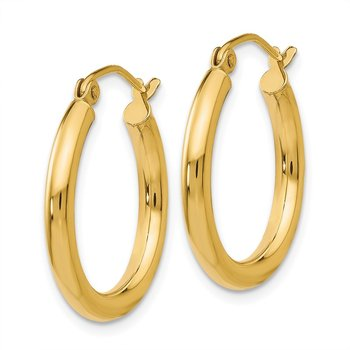 14K Polished 2.5mm Lightweight Tube Hoop Earrings