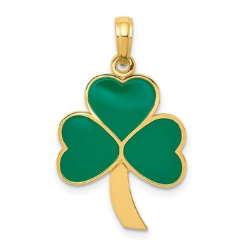 14k Green Enameled Shamrock Pendant