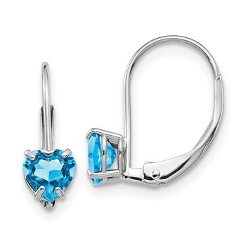 14k White Gold 5mm Heart Blue Topaz Leverback Earrings