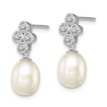 Sterling Silver Rhod-plated 7-8mm White FWC Pearl CZ Post Dangle Earrings