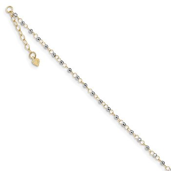 14K Two-tone Circle Chain w/ Mirror Beads 9in Plus 1in Ext. Anklet