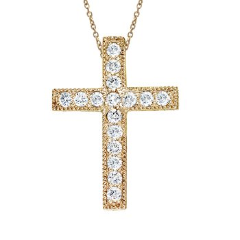 14K Yellow Gold Large Scroll .50 Ct Diamond Cross Pendant