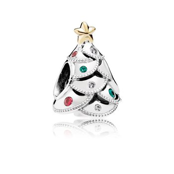 Festive Tree Charm, Multi-Colored Cz