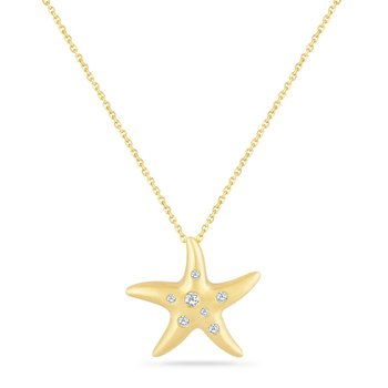 14K STARFISH PENDANT WITH 7 DIAMONDS 0.13CT ON A 18 INCH CHAIN STARFISH 20MM BY 21MM