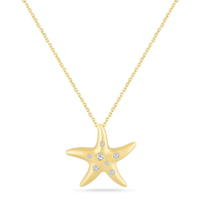 Shula NY 14K STARFISH PENDANT WITH 7 DIAMONDS 0.13CT ON A 18 INCH CHAIN STARFISH 20MM BY 21MM