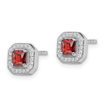 Sterling Silver Rhodium-Plated Square Red and Clear CZ Post Earrings