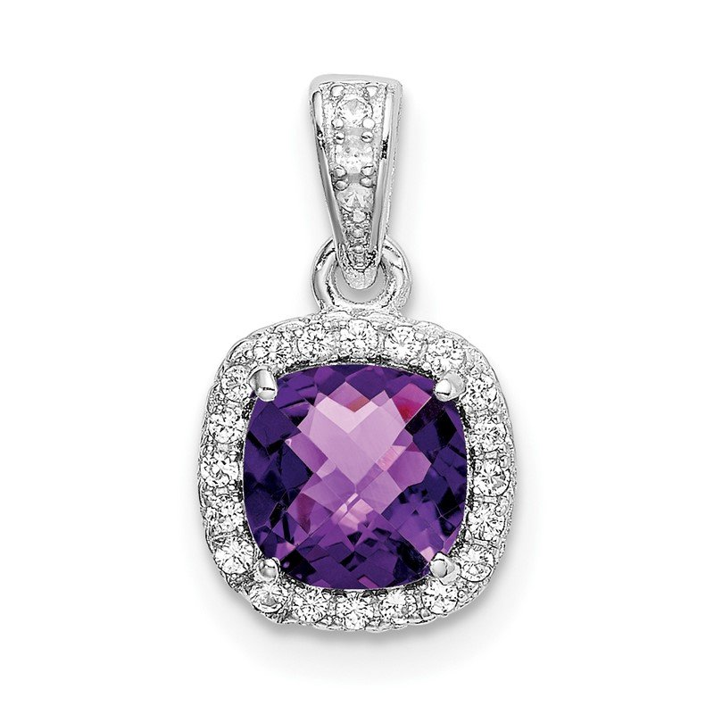 Quality Gold Sterling Silver Rhod-plate .86Amethyst/Creat. White Sapphire Pendant