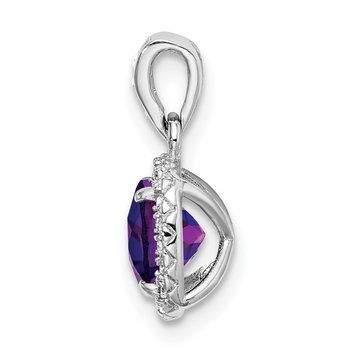 Sterling Silver Rhod-plate .86Amethyst/Creat. White Sapphire Pendant