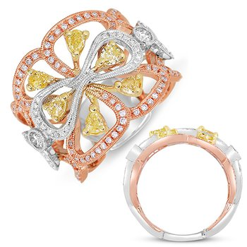 White & Rose & Yellow Fashion Ring