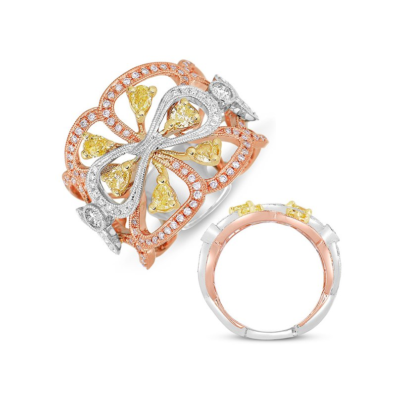 S. Kashi  & Sons White & Rose & Yellow Fashion Ring