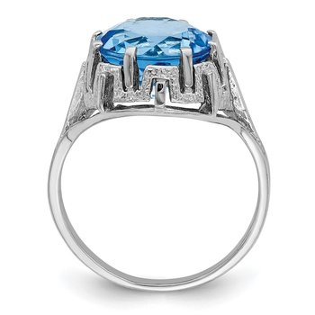 14k White Gold 10mm Blue Topaz ring