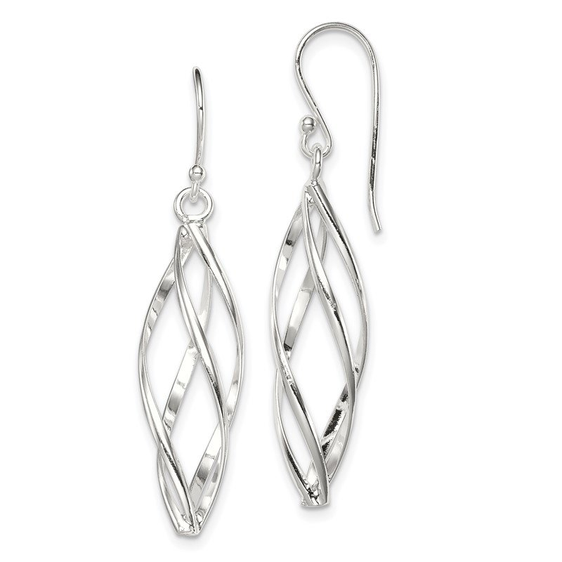 Quality Gold Sterling Silver Long Twisted Earrings
