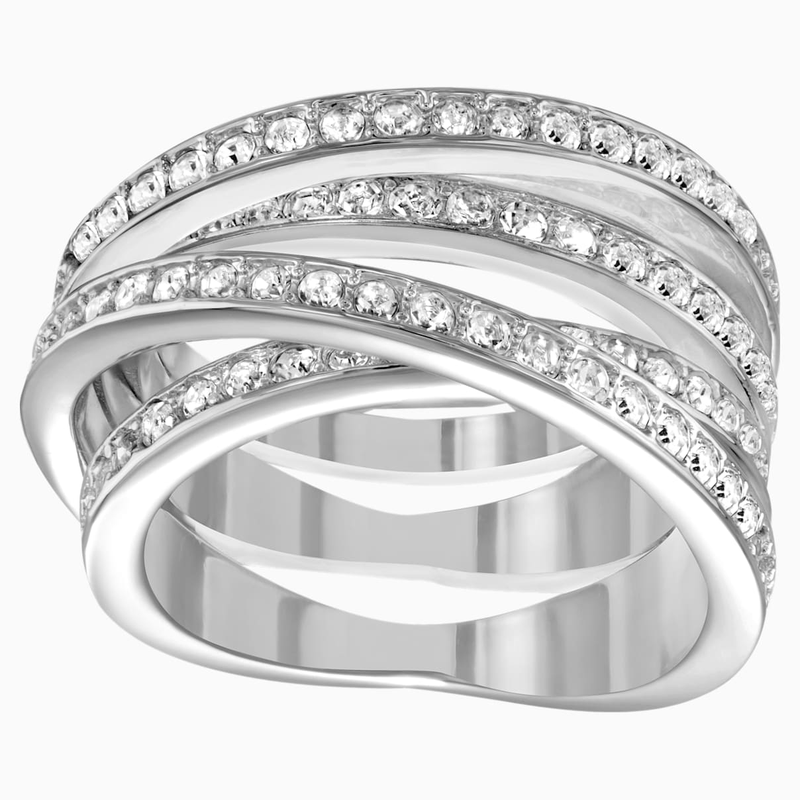 Swarovski Spiral Ring, White, Rhodium Plating