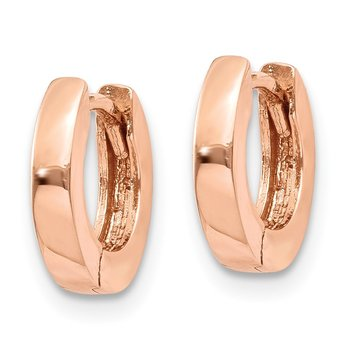 14k Rose Gold Round Hinged Hoop Earrings