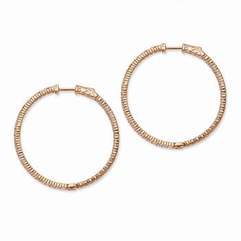 Sterling Silver Rose-tone CZ In and Out Hoop Earrings