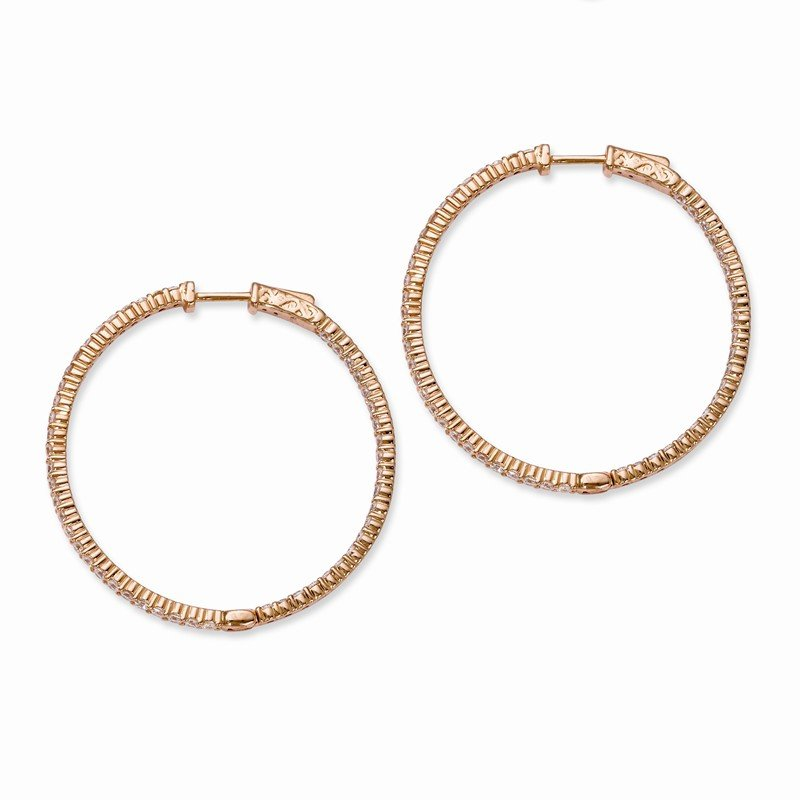 Quality Gold Sterling Silver Rose Gold -plated CZ In and Out Hoop Earrings