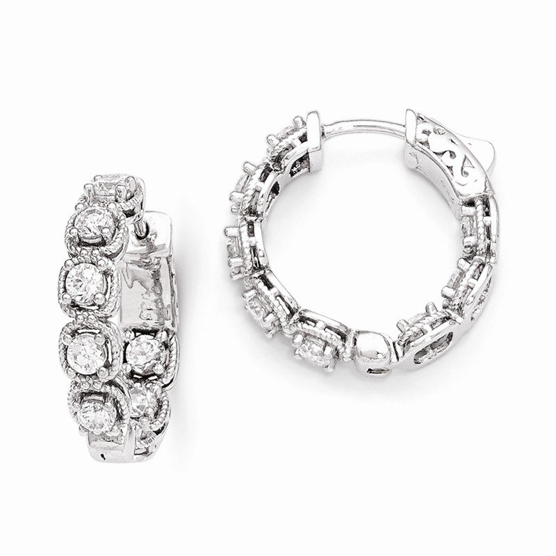 Quality Gold Sterling Silver Rhodium Plated CZ In and Out Hoop Earrings