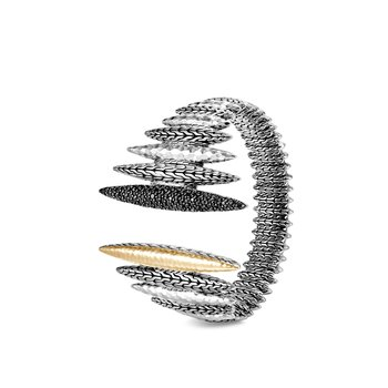 Classic Chain Spear Flex Cuff in Hammered Silver, 18K Gold, Gem