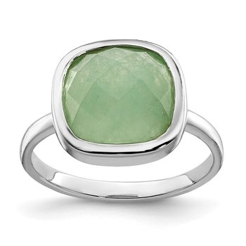 Sterling Silver Rhodium Plated Green CZ Ring