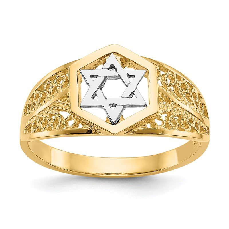 Quality Gold 14k Two-Tone Polished Star of David Ring
