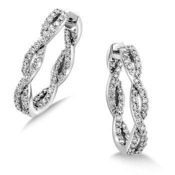 Pave set Diamond Twisted Inside/Out Hoops in 14k White Gold (2 ct. tw.) HI/SI2-SI3