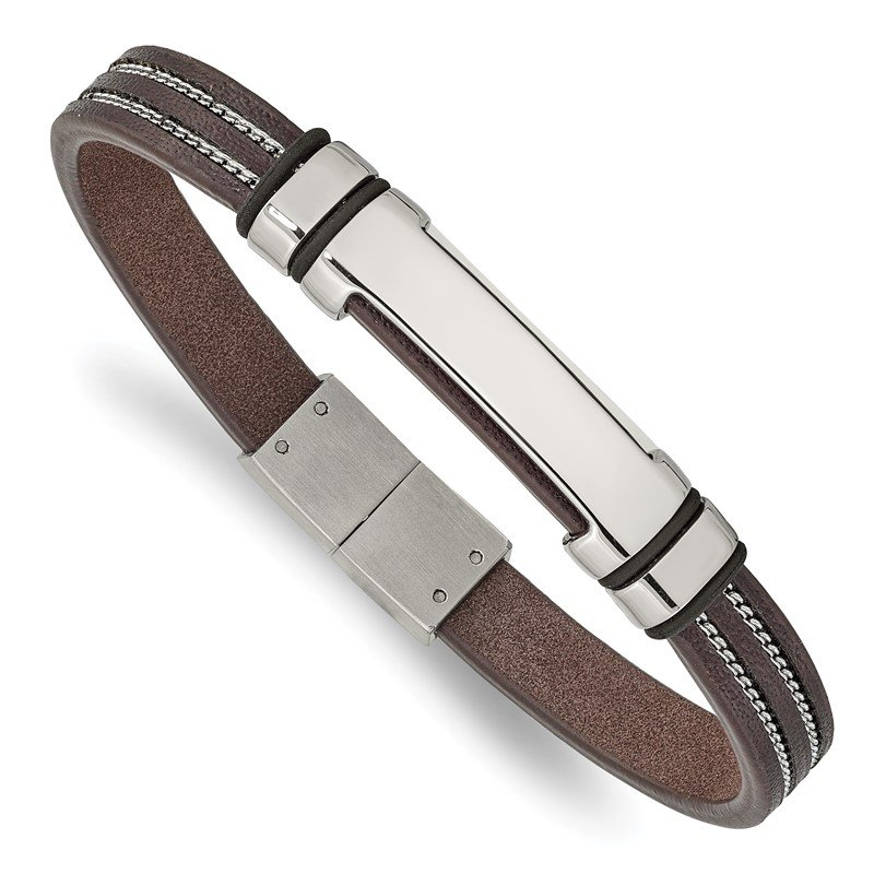 Chisel Stainless Steel Polished Brown Leather w/Black Rubber 8.25in ID Bracelet
