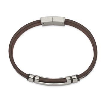 Stainless Steel Polished Brown Leather w/Black Rubber 8.25in ID Bracelet