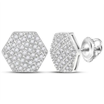 10kt White Gold Mens Round Diamond Hexagon Cluster Stud Earrings 1/5 Cttw