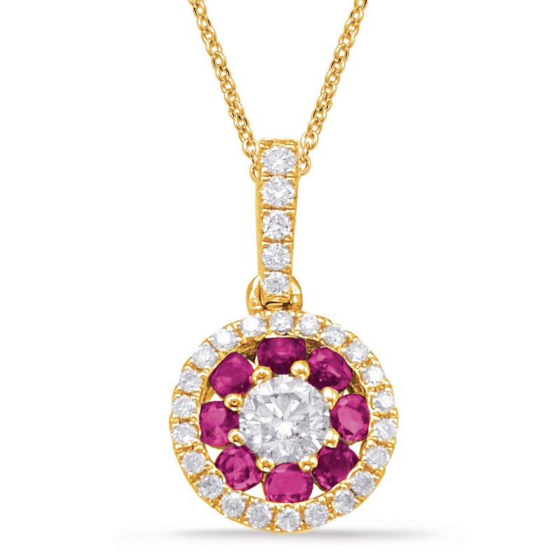 S. Kashi  & Sons Yellow Gold Ruby & Diamond Pendant