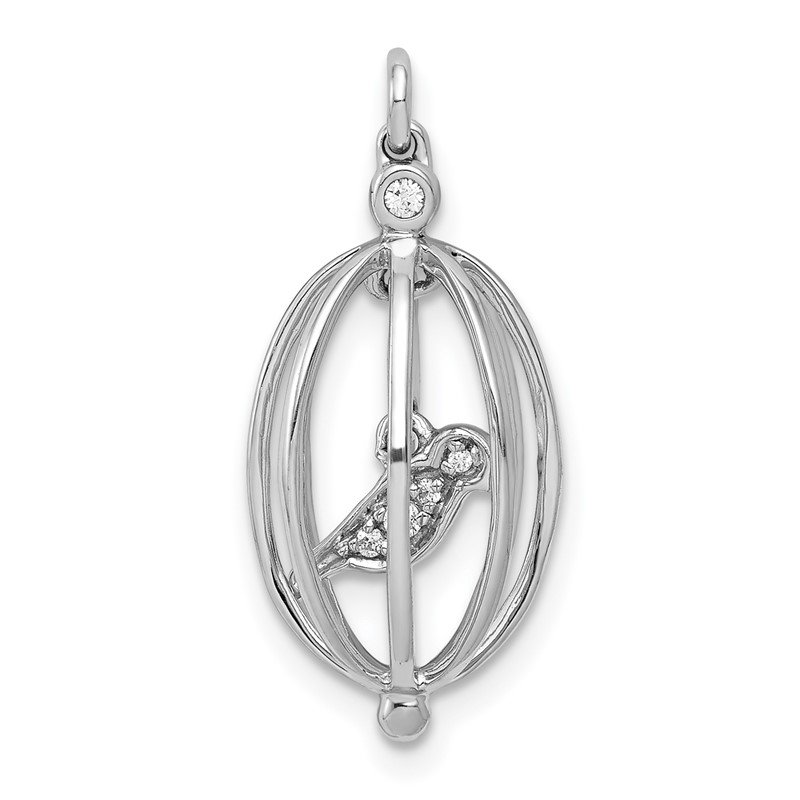 Quality Gold 14k White Gold Diamond Bird in Cage Pendant
