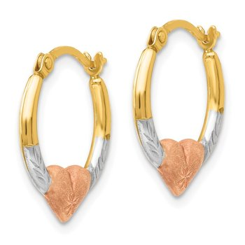 14K Tri-color Madi K Heart Hoop Earrings