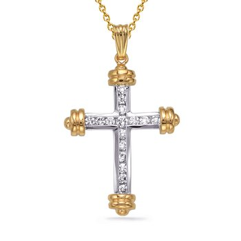 Two Tone Diamond Cross Pendant