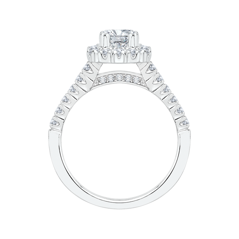 Promezza 14K White Gold Emerald Diamond Halo Engagement Ring