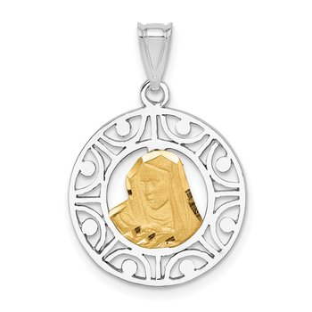 14K Two-tone Brushed & Polished Virgin D/C Mary Pendant