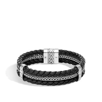 Classic Chain Triple Row Bracelet in Silver and Leather. Available at our Halifax store.