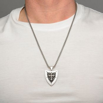 Shield & Cross with Black Plated Pattern Pendant with Chain