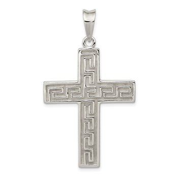 Sterling Silver Polished & Textured Greek Key Cross Pendant