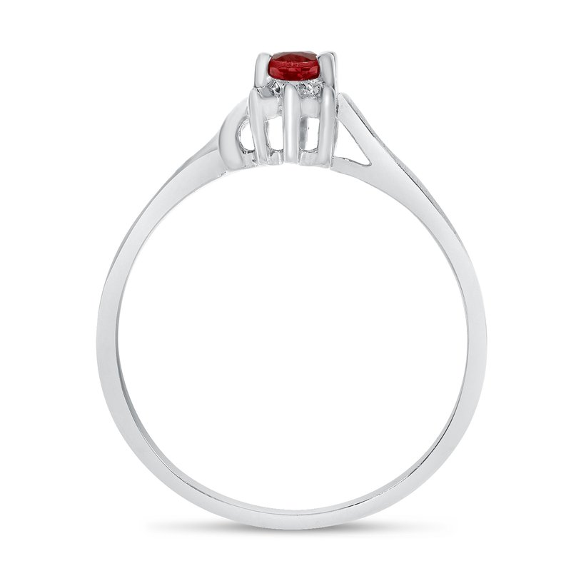 Color Merchants 14k White Gold Oval Garnet And Diamond Satin Finish Ring