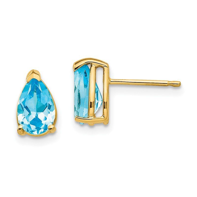 Quality Gold 14k 8x5mm Pear Blue Topaz Earrings